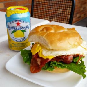 breakfast sandwich with pellegrino