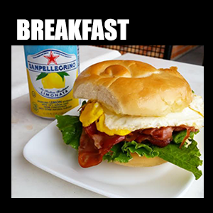 Breakfast – Grilled Prosciutto, fresh cracked egg, espresso – order up!